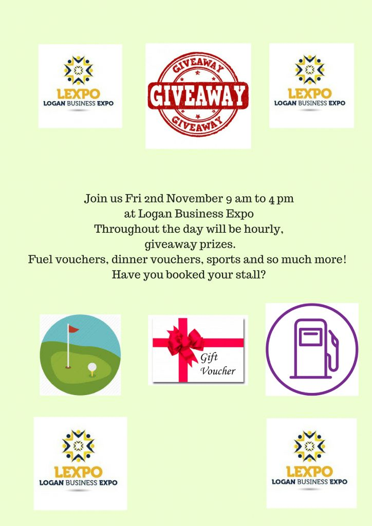 Join us Fri 2nd November at Logan Business Expo .Throughout the day there will hourly prizes drawn.2 (8)